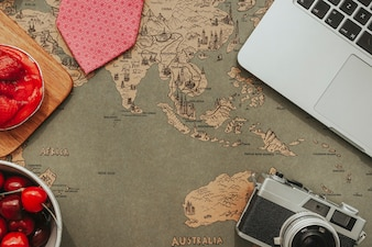 Surface with world map and blank space for father's day