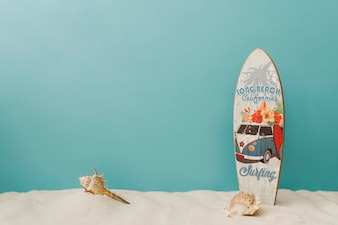 Surfboard on blue background