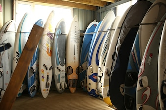 Surfboards in a store