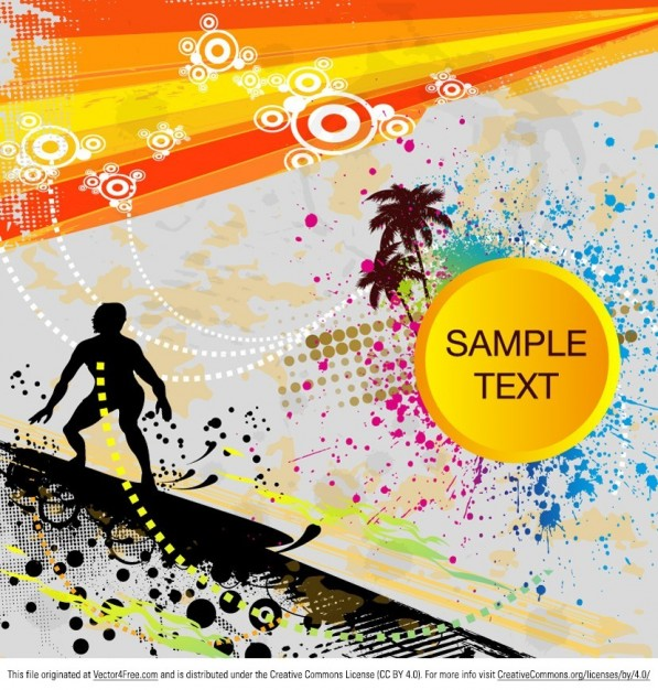 Surfer silhoutte on tropical background