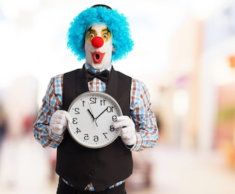 Surprised buffoon with the time