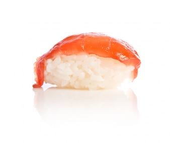 白い背景上の寿司の食事