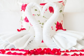 Swans made of white towels