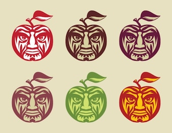 Sweet apples with face vector set