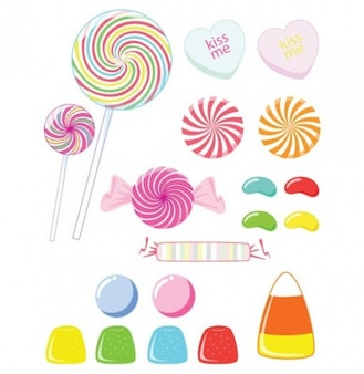 Sweet heart candies and lollipops