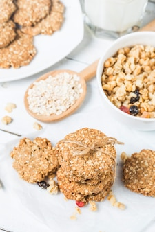 Sweet homemade cookie with oat flakes