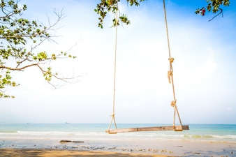 Swing with sea background