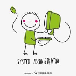 System administrator vector cartoon