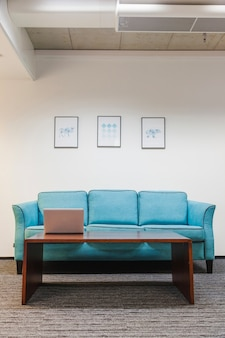 Table and sofa on rug in office
