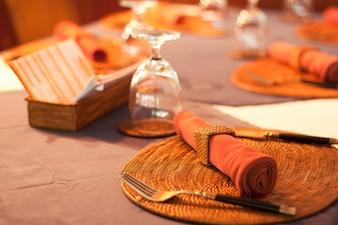 Table set for dinner at the restaurant