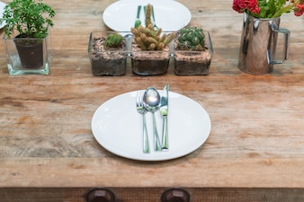 Table set on dinning table