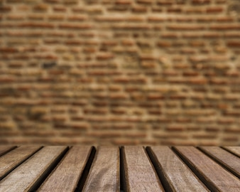 Table texture looking out to brick wall