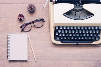 Table typewriter writer paper publish wood