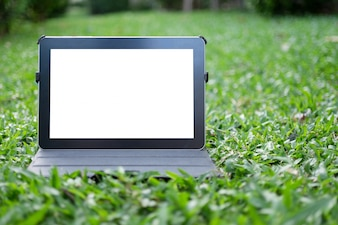 Tablet on grass