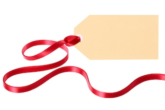 Tag with a red ribbon