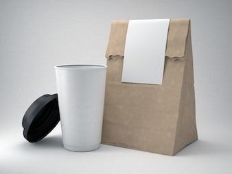 Take away coffee cup and bag