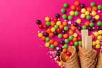 Tasty appetizing Party Accessories on Bright Pink Background