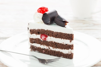 Tasty chocolate and cream cake