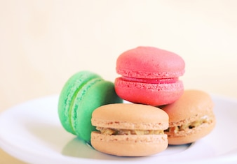 Tasty colorful macaroons with retro filter effect