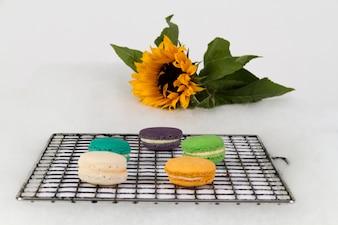 Tasty cookies on a rack