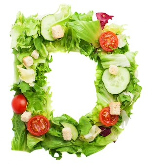 Tasty letter d with cucumber and croutons