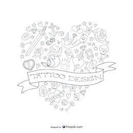 Tattoo design heart shape vector