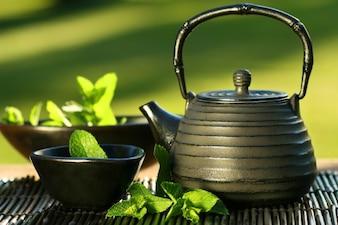 Tea set on green background