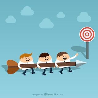 Team work cartoon