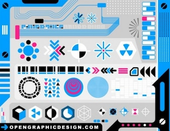 Tech abstract shapes & designs vector pack