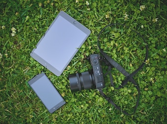 Technological devices in the park
