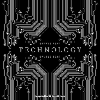 Technology background in black color
