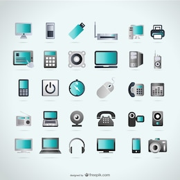 Technology icons devices