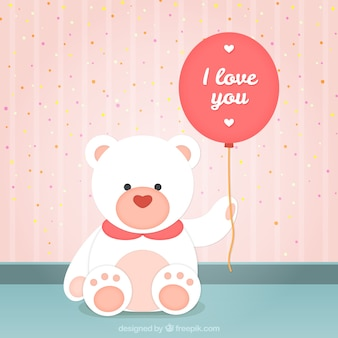 Teddy bear with a romantic balloon
