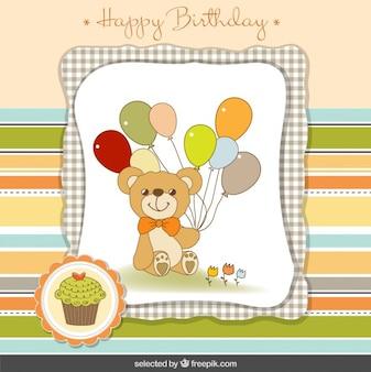 Teddy bear with balloons birthday card