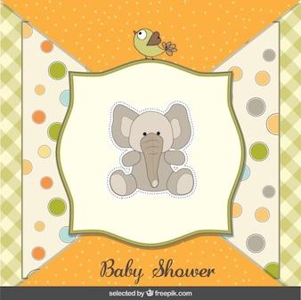 Teddy elephant baby shower card