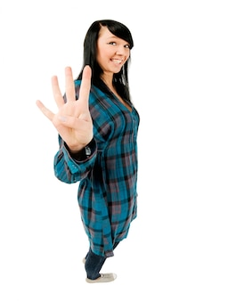 Teenage girl showing four fingers