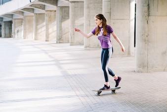Teenager skateboarding