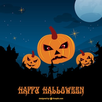 Template of halloween evil pumpkins and witches