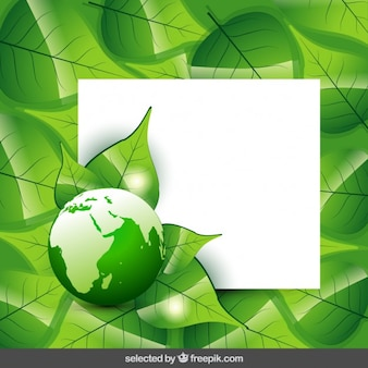 Template with leaves and globe