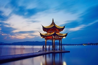 Temple in middle of a lake