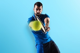 Tennis player on colorful background