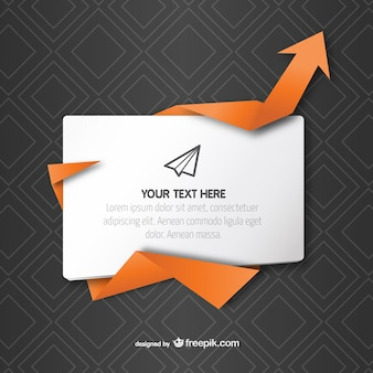 Text box with origami arrow vector
