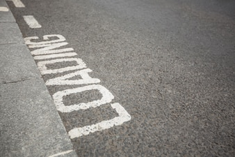 Text written on road surface