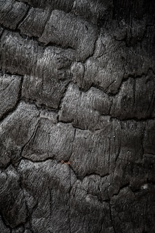 Texture of charcoal after burning