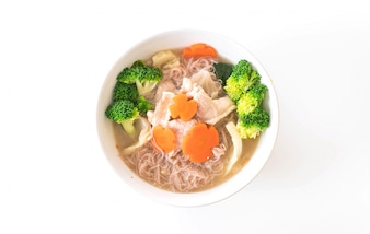 Thai style noodle stir-fried in gravy sauce with marinated pork and Chinese broccoli