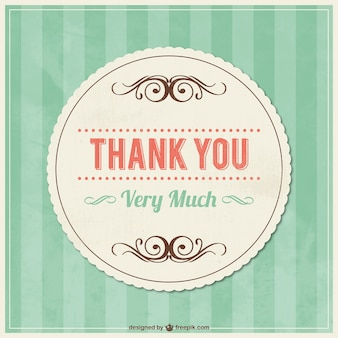 Thank you vintage card with ornaments