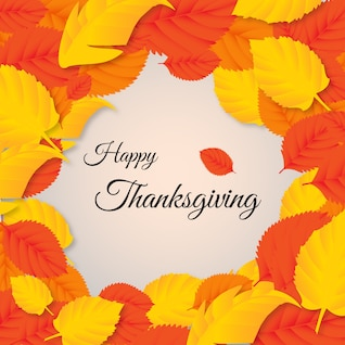 Thanksgiving card with fall leaves