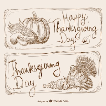 Thanksgiving Day drawn cards