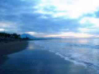 The atmosphere of coastal dunes, beach