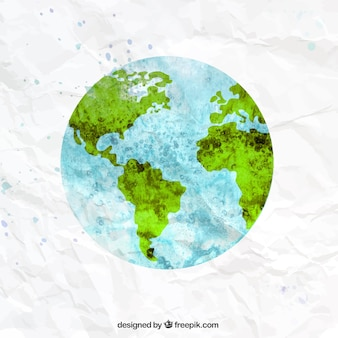 The earth in watercolor style